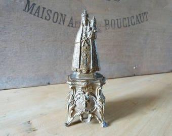 Pilgrim's Virgin Mary Madonna Souvenir French Spelter  Display Statue Antique Piece