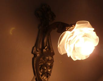 2 Antique Art Nouveau Wall Lights with Glass Rose Shades