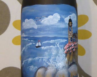 Lighted Nautical Wine Bottle - Hand Painted Lighthouse & Ocean - Accent Lamp - Frosted Glass, Housewarming Gift, Hostess Gift, Beach Lover