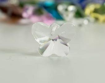 Clear Butterfly Crystal Glass Bead 14mm