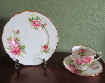 Royal Albert Fine Bone China Coffee and Dessert Set American Beauty Pattern Made In England