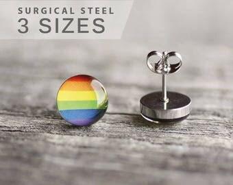 Rainbow earring studs, Surgical steel studs, LGBT pride post earring, Equality earring stud, gay pride, mens earriings, Unisex gift