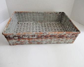 Vintage Wicker Basket Rectangular Gray Wicker Tray Basket Chippy Paint
