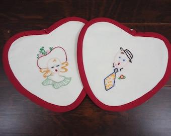 Handmade Ma and Pa Hot Pads  Pot Holders  Heart Shape  Pair
