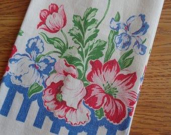 Red White Blue Magnolia Flowers Cotton Tea Towel 14 x 29