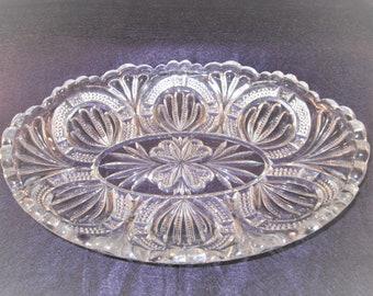 Vintage cut glass oval serving dish