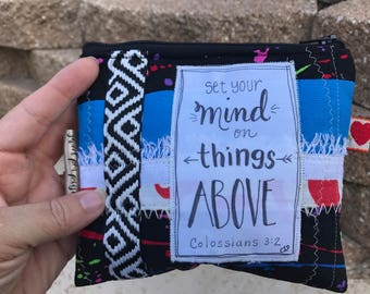 Small cosmetic bag-make up bag-coin purse wallet- credit card wallet-calligraphy scripture-vintage boho chic -set your mind on things above