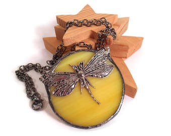 Dragonfly Pendant Yellow Glass Round Pendant Soldered Dragonfly Necklace Handmade Jewelry Stained Glass Jewelry Nature Necklace Unique Glass