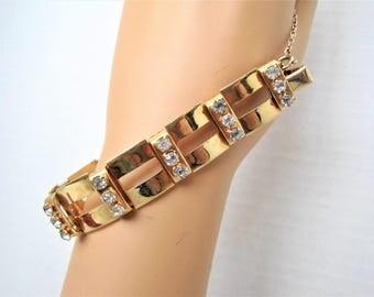 Rhinestone Link Bracelet -  Gold Tone Rectangular Panels - Vintage Modernistic Design