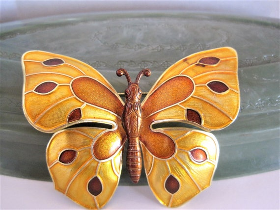 Gold Butterfly Brooch - Enamel Colorful - Made in West Germany  - Statement Pin