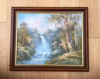 Large Landscape Oil Painting Waterfall Original Fine Art 1980S Home Decor Wall Hanging