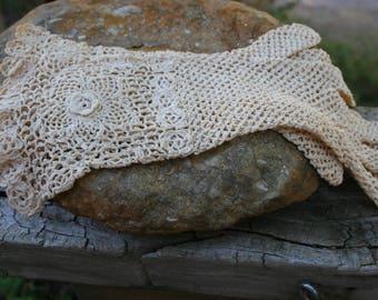 Vintage Bohemian Gloves Crochet Ecru Tea Color Cotton Wedding Gloves