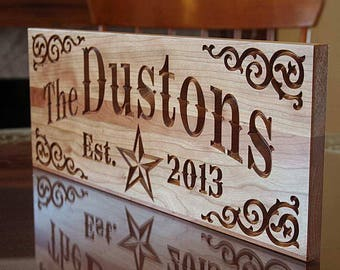 Parents Anniversary Gift, Carved Wedding Sign, 5yr Anniversary Gift, Custom Wedding Sign, Benchmark Custom Signs, Cherry SH