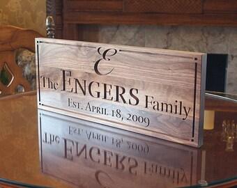 Personalized Last Name Wood Sign Custom Wedding Date Established