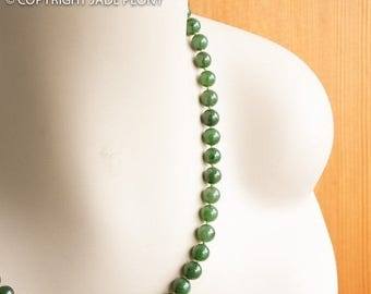 FLASH SALE 8mm A Grade Nephrite Jade Bead Necklace - hand knotted