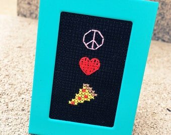 Mini Painted Teal Framed Cross Stitch - Peace Love Pizza