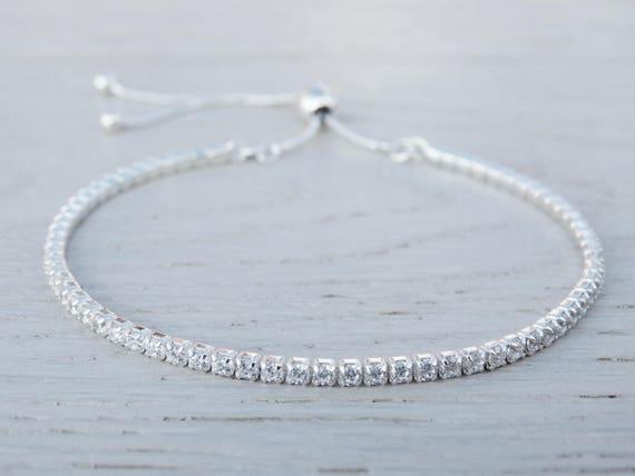Sterling Silver Tennis Bracelet, Cubic Zirconia