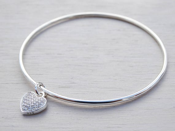 Silver Heart Bangle, Cubic Zircona, Sterling Silver