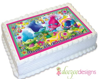 Trolls A4 Edible Icing Cake Topper - EI119A4