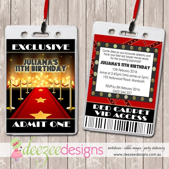 Hollywood Red Carpet VIP Lanyard Birthday Invitations x 10 BD191G