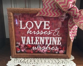Valentines Day 8 x 10 Love Kisses & Valentine Wishes Wooden Shadow Box Gift