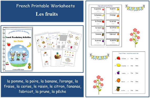 learn names of fruits in french with teacher worksheets. Black Bedroom Furniture Sets. Home Design Ideas