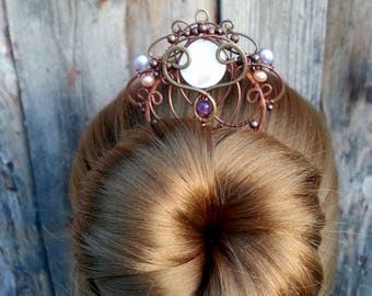 Pearl Copper Hair Comb - Wire Wrapped Hair Accessories - Copper Hair Fork with two prongs -  Barrette - Bun pin, hair stick bun pin
