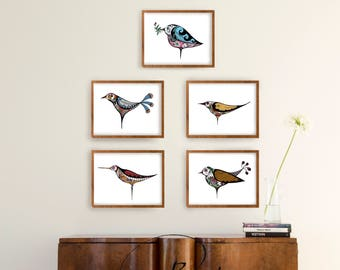 Set birds prints- Minimal floral birds, modern birds print, Set print wall art, Set option amount, floral birds nursery, minimal birds print