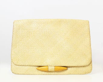 vintage 70s straw clutch purse / 1970s large woven straw clutch / straw wood envelope clutch / minimalist natural straw purse / tablet bag