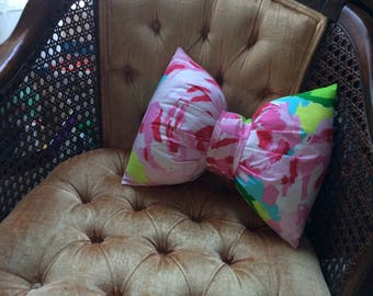 Bow-shaped pillow made with Lilly Pulitzer pink First Impression fabric