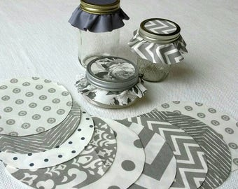 Dozen Silver Assorted Jar Toppers, Fabric Circles for Canning, Gift in a Jar, YoYo, FREE Shipping