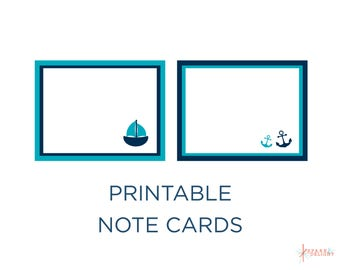 Printable Note Cards - Nautical Baby Shower - Nautical Note Cards - Turquoise and Navy - Nautical Theme - Boy Baby Shower - Note Cards