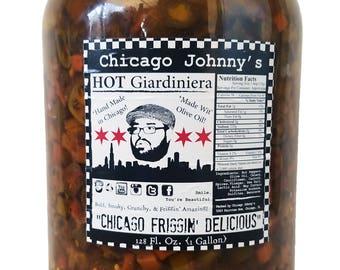 Hot Giardiniera Gallon in glass jar | Chicago Johnnys | Made In Chicago