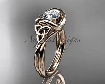 """14kt rose gold trinity celtic twisted rope wedding ring with a """"Forever One"""" Moissanite center stone RPCT9146"""