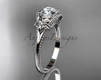 14k white gold diamond unique engagement ring ADLR375