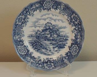 "Vintage English Village 8"" Salad Plate Olde Staffordshire Salem China Co. England Romantic Home Cottage Chic Blue & White"