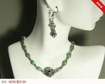"Green Turquoise Necklace 18"", Bracelet 8"" and Earrings 2"", sterling silver beads, components, a gorgeous set you feel, unbelievable beauty."