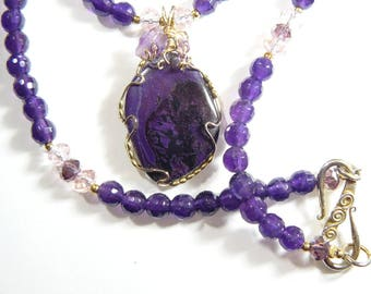 "SALE - Purple wire wrapped Sugilite cabochon necklace using 14kgf wire and 6 mm faceted Amethyst beads.  Handmade 20"" (W72071)"