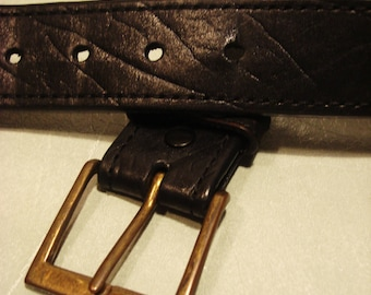 Vintage 1990s Black Leather Belt with Square Brass Buckle