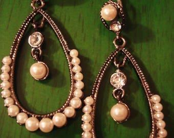Vintage Boho Chic Pearl Drop Dangle Earrings