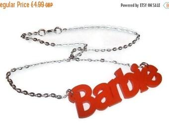 Barbie Necklace, Orange Laser Cut Pendant Word Necklace