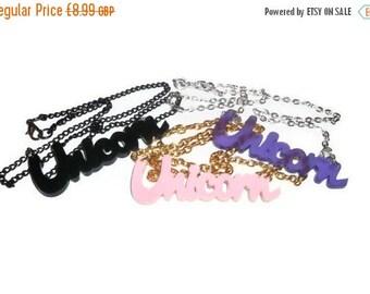Unicorn Necklace, Cute Kawaii, Choose Black, Purple or Pink Laser Cut Pendant,