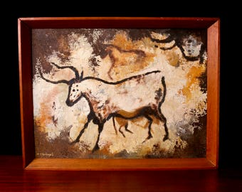 Vintage Meryl Stringell oil painting The Lascaux Caves - 60s midcentury modern art - prehistoric bull bison cave painting - framed wall art