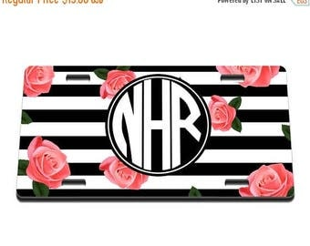 ON SALE NOW Stripes and Roses Monogram Printed Personalized License Plate / Gift Idea / Gift for her / New Driver / Car Accessories / Vanity