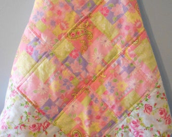 """Baby Quilt, Baby Blanket, Baby Girl Quilt, Pink Roses Quilt, Handmade Baby Blanket, Baby Shower,  Handmade Quilt, Infant Quilt, 34"""" x 34"""""""