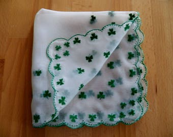 Vintage IRISH SHAMROCK Sheer Handkerchief in Excellent Condition