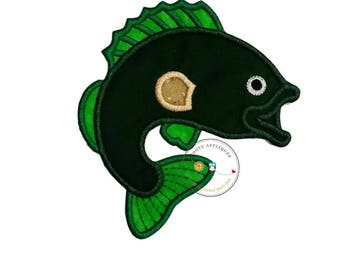 Bass fish fabric iron on applique, green and lime green iron on fish patch, ships in 72hrs, ready to ship
