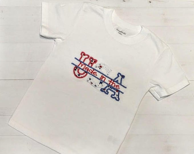 ON SALE NOW Made in the Usa Independence day t-shirt with  embroidered details- Pre-made, Ready to ship