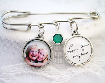 Photo Charm Lapel Pin Signature Charm for Wedding Gift Photo Memory Charm for Groom Gift for Grandmom Jewelry for Mother Photo Gift for Her