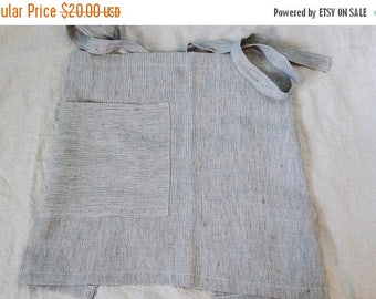 Summer sale Navy and off white striped prewashed and soft linen half apron. Soft cafe apron.